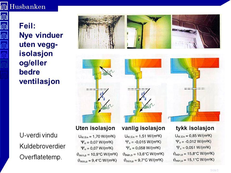 Side 5 Husbanken Feil: Nye vinduer uten vegg- isolasjon og/eller bedre ventilasjon Uten isolasjonvanlig isolasjon tykk isolasjon U-verdi vindu Kuldebr
