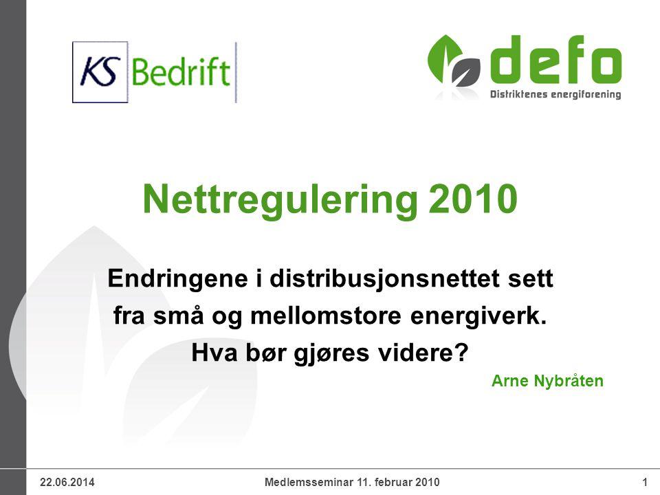 22.06.2014Medlemsseminar 11. februar 20101 Nettregulering 2010 Endringene i distribusjonsnettet sett fra små og mellomstore energiverk. Hva bør gjøres