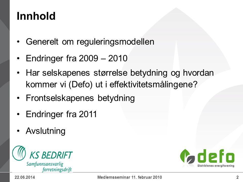 22.06.20142Medlemsseminar 11. februar 2010 •Generelt om reguleringsmodellen •Endringer fra 2009 – 2010 •Har selskapenes størrelse betydning og hvordan