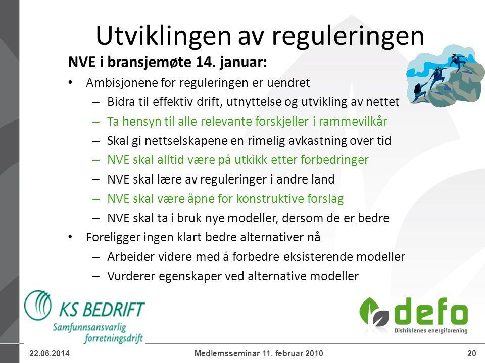22.06.201420Medlemsseminar 11. februar 2010 Utviklingen av reguleringen NVE i bransjemøte 14. januar: • Ambisjonene for reguleringen er uendret – Bidr