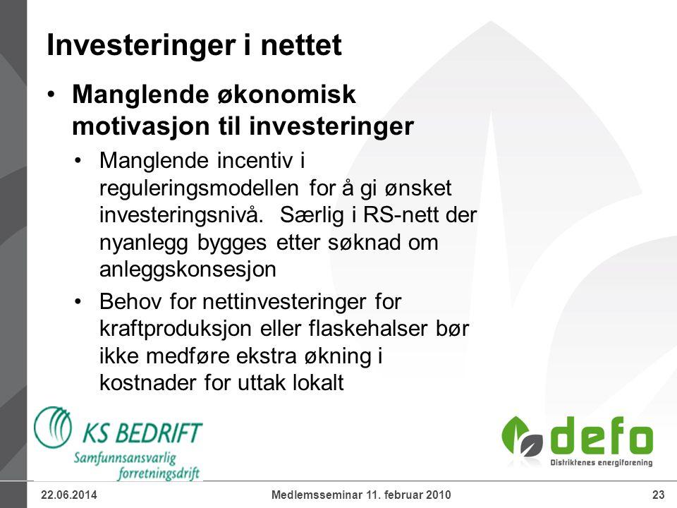 22.06.201423Medlemsseminar 11. februar 2010 •Manglende økonomisk motivasjon til investeringer •Manglende incentiv i reguleringsmodellen for å gi ønske