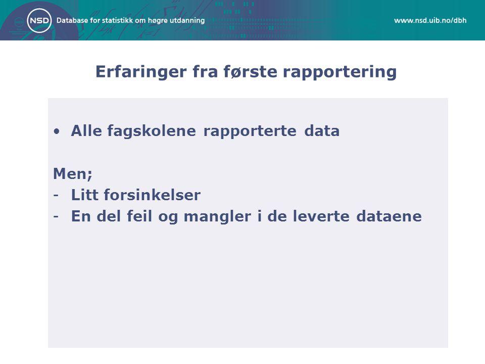 Erfaringer fra første rapportering •Alle fagskolene rapporterte data Men; -Litt forsinkelser -En del feil og mangler i de leverte dataene