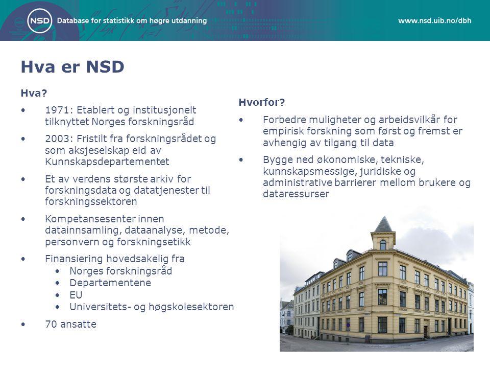 Kort om noen av NSDs datatilbud: •Regionaldatabasen •Data om forvaltning og det politiske system •Registerdata som; fastlegedata, kontantstøttedata fra NAV •Nasjonale og internasjonale intervjuundersøkelser - ESS og ISSP.