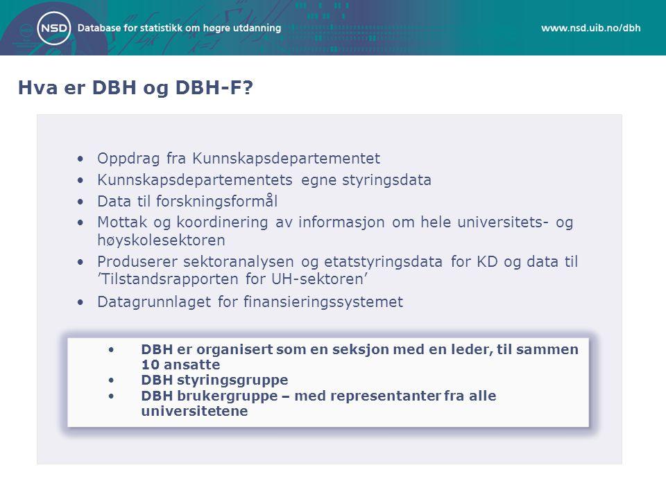 •Oppdrag fra Kunnskapsdepartementet •Kunnskapsdepartementets egne styringsdata •Data til forskningsformål •Mottak og koordinering av informasjon om hele universitets- og høyskolesektoren •Produserer sektoranalysen og etatstyringsdata for KD og data til 'Tilstandsrapporten for UH-sektoren' •Datagrunnlaget for finansieringssystemet Hva er DBH og DBH-F.