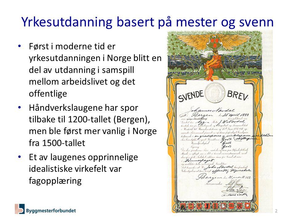 Yrkesutdanning basert på mester og svenn • Først i moderne tid er yrkesutdanningen i Norge blitt en del av utdanning i samspill mellom arbeidslivet og det offentlige • Håndverkslaugene har spor tilbake til 1200-tallet (Bergen), men ble først mer vanlig i Norge fra 1500-tallet • Et av laugenes opprinnelige idealistiske virkefelt var fagopplæring 2
