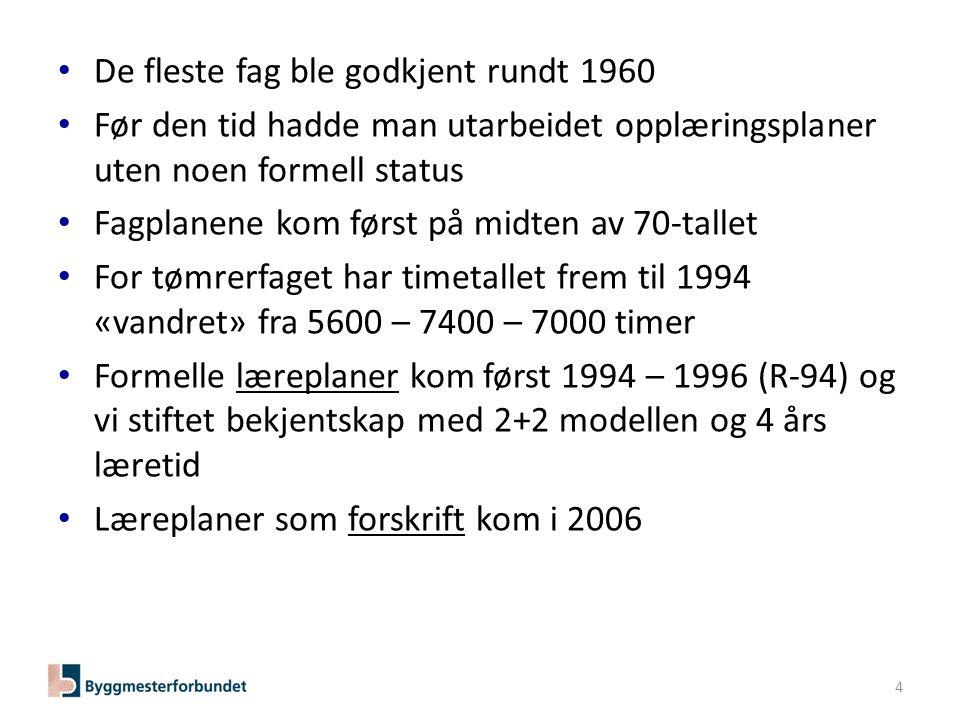 Byggmesterforbundets forslag til endring av fagutdanning for tømrerfaget 4.