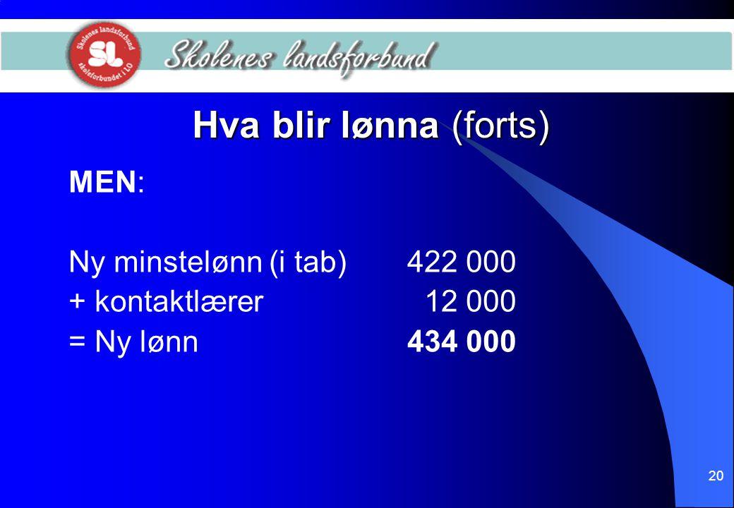 20 Hva blir lønna (forts) MEN: Ny minstelønn (i tab)422 000 + kontaktlærer 12 000 = Ny lønn434 000