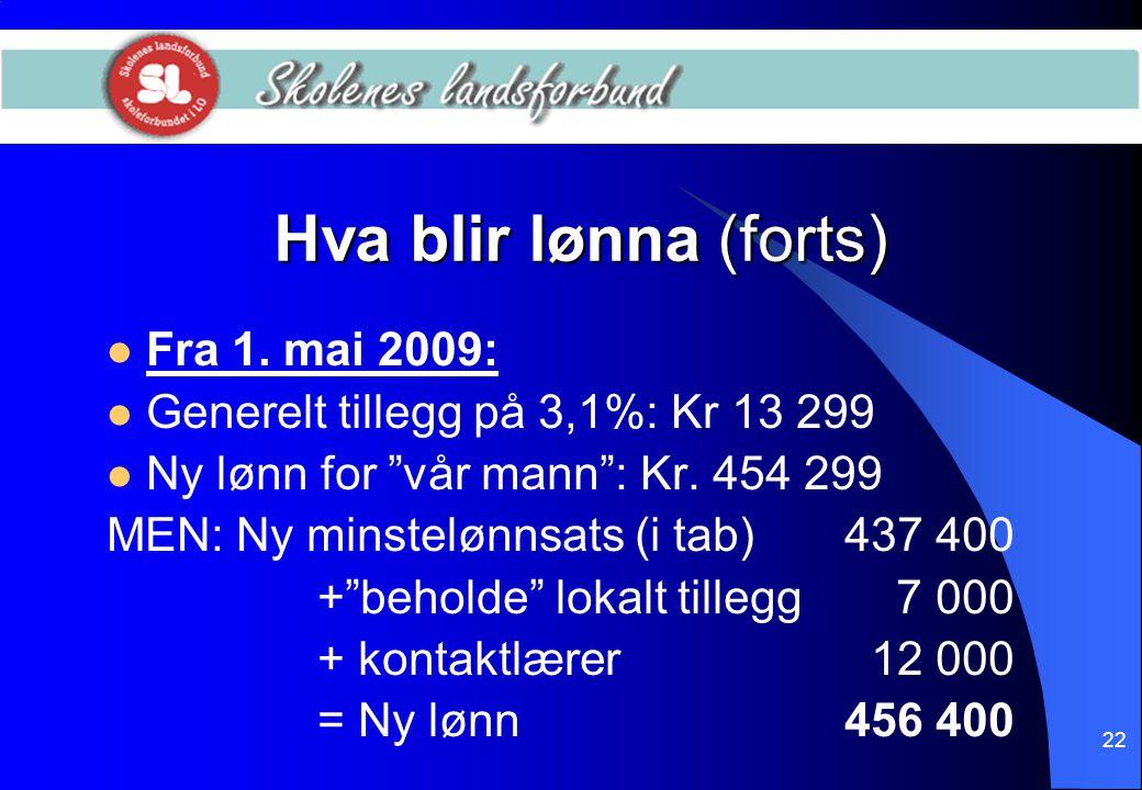 """22 Hva blir lønna (forts)  Fra 1. mai 2009:  Generelt tillegg på 3,1%: Kr 13 299  Ny lønn for """"vår mann"""": Kr. 454 299 MEN: Ny minstelønnsats (i tab"""