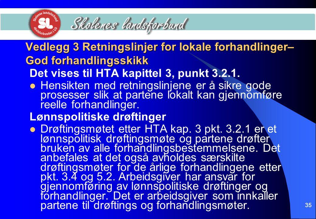 35 Vedlegg 3 Retningslinjer for lokale forhandlinger– God forhandlingsskikk Det vises til HTA kapittel 3, punkt 3.2.1.  Hensikten med retningslinjene