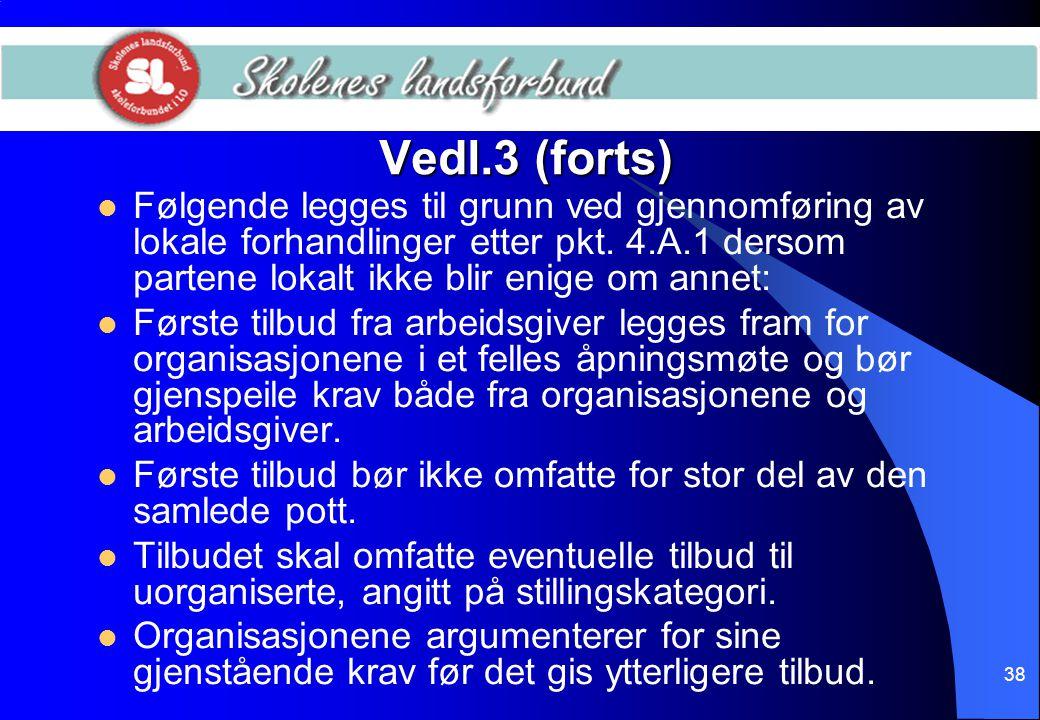 38 Vedl.3 (forts)  Følgende legges til grunn ved gjennomføring av lokale forhandlinger etter pkt. 4.A.1 dersom partene lokalt ikke blir enige om anne