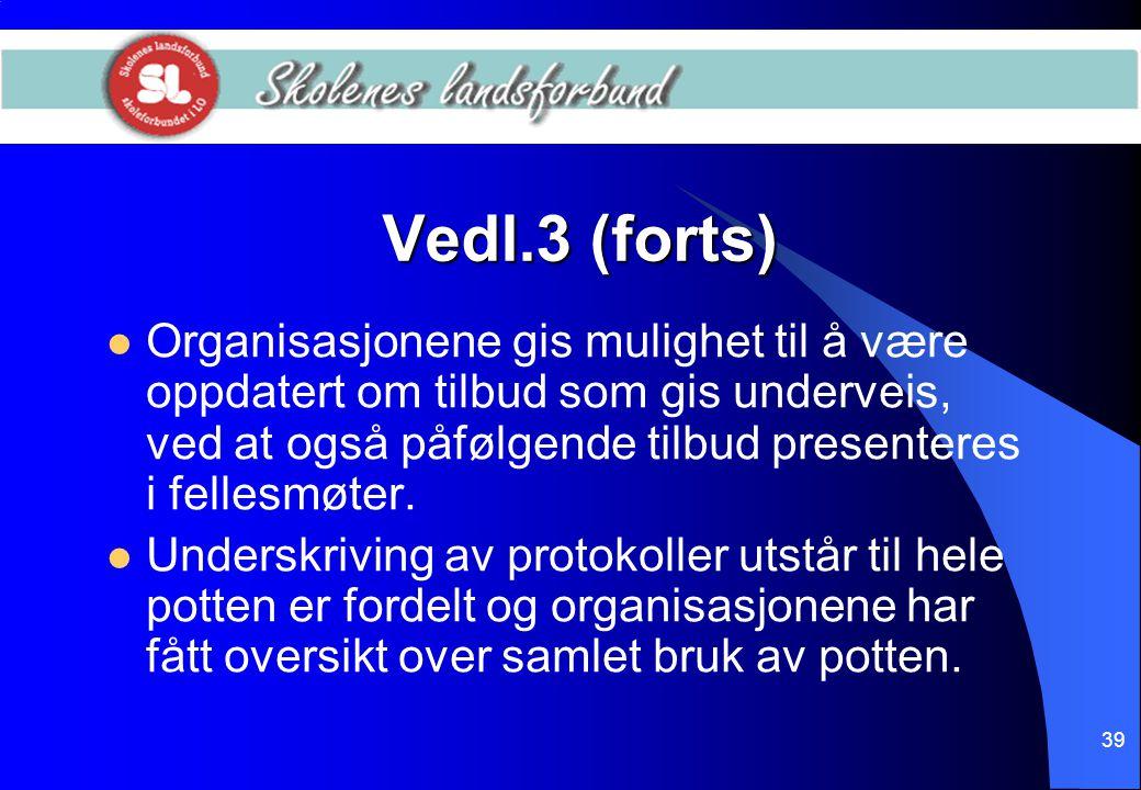 39 Vedl.3 (forts)  Organisasjonene gis mulighet til å være oppdatert om tilbud som gis underveis, ved at også påfølgende tilbud presenteres i fellesm