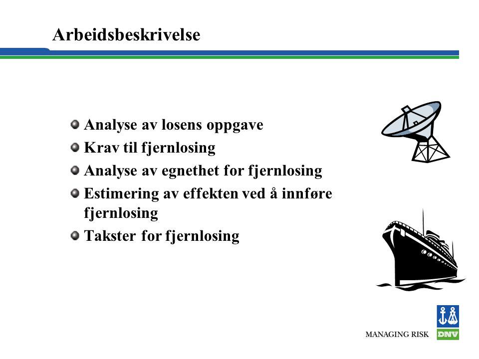 Arbeidsbeskrivelse Analyse av losens oppgave Krav til fjernlosing Analyse av egnethet for fjernlosing Estimering av effekten ved å innføre fjernlosing