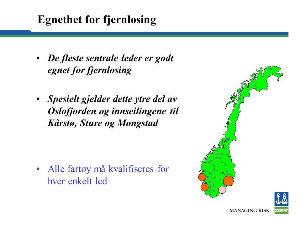 Egnethet for fjernlosing •De fleste sentrale leder er godt egnet for fjernlosing •Spesielt gjelder dette ytre del av Oslofjorden og innseilingene til
