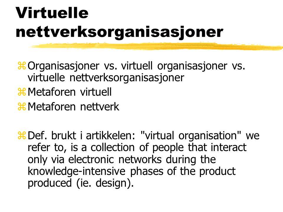 Virtuelle nettverksorganisasjoner zOrganisasjoner vs. virtuell organisasjoner vs. virtuelle nettverksorganisasjoner zMetaforen virtuell zMetaforen net