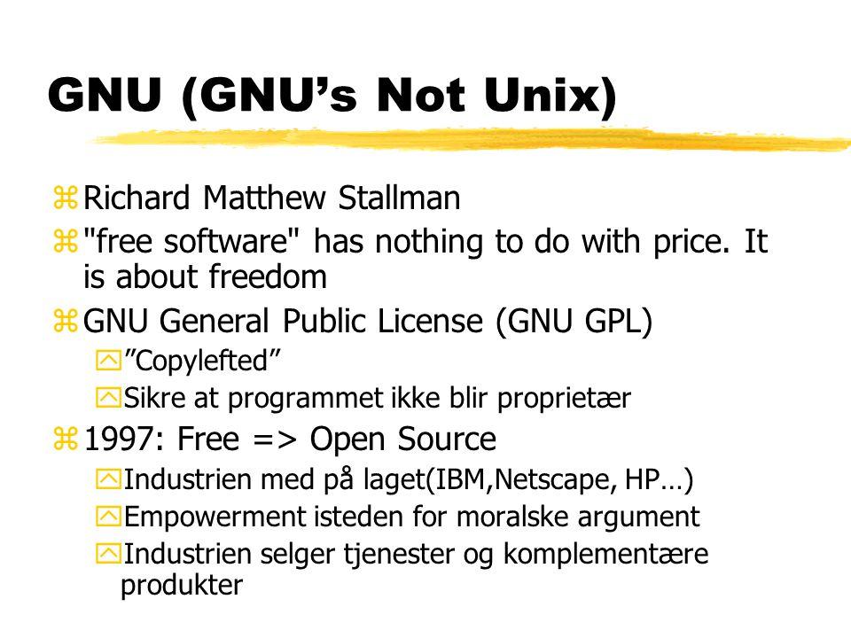 Linux zLinus Torvalds z1991: Gratis Unix kjerne publisert på nettet (GNU GPL) z1993: Stabilt, pålitelig operativsystem y1000-vis av utviklere over hele verden z2000: Microsoft ser på Linux som en alvorlig konkurrent til Windows