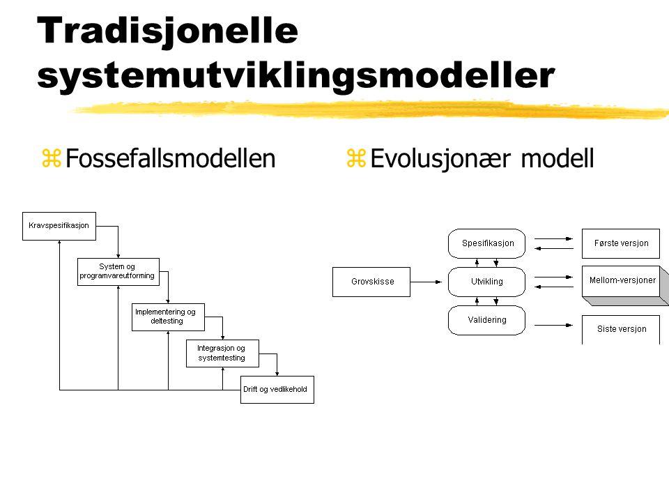 Tradisjonelle systemutviklingsmodeller zFossefallsmodellenz Evolusjonær modell