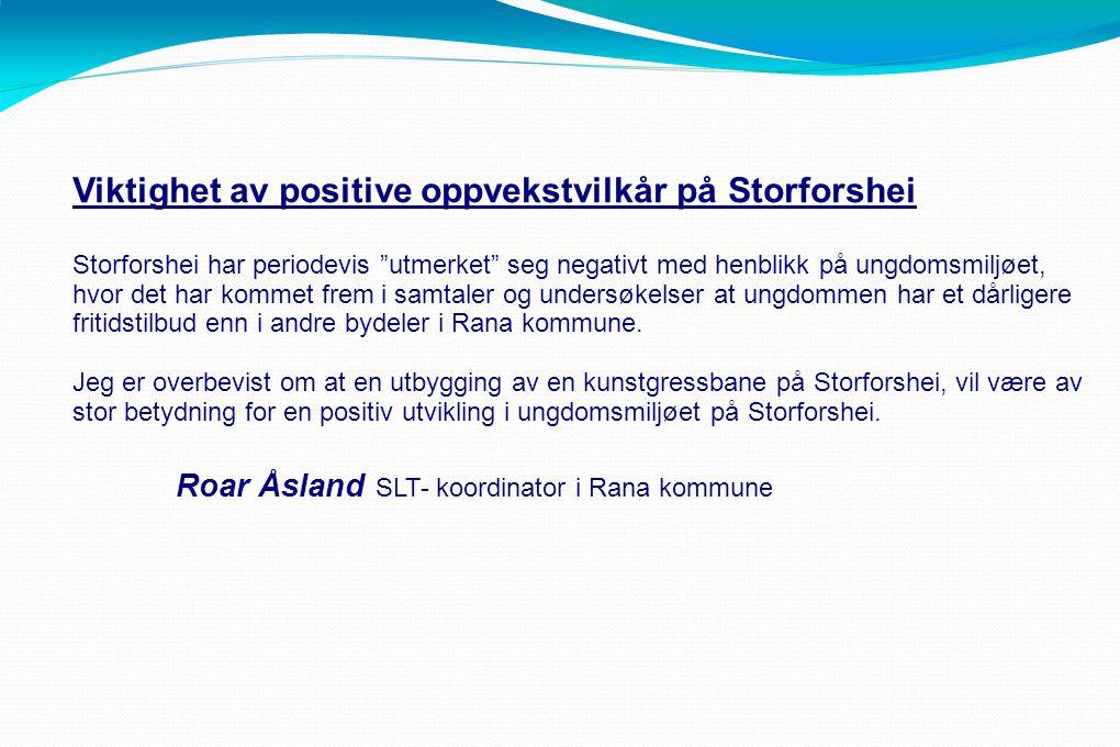 Viktighet av positive oppvekstvilkår på Storforshei Storforshei har periodevis utmerket seg negativt med henblikk på ungdomsmiljøet, hvor det har kommet frem i samtaler og undersøkelser at ungdommen har et dårligere fritidstilbud enn i andre bydeler i Rana kommune.