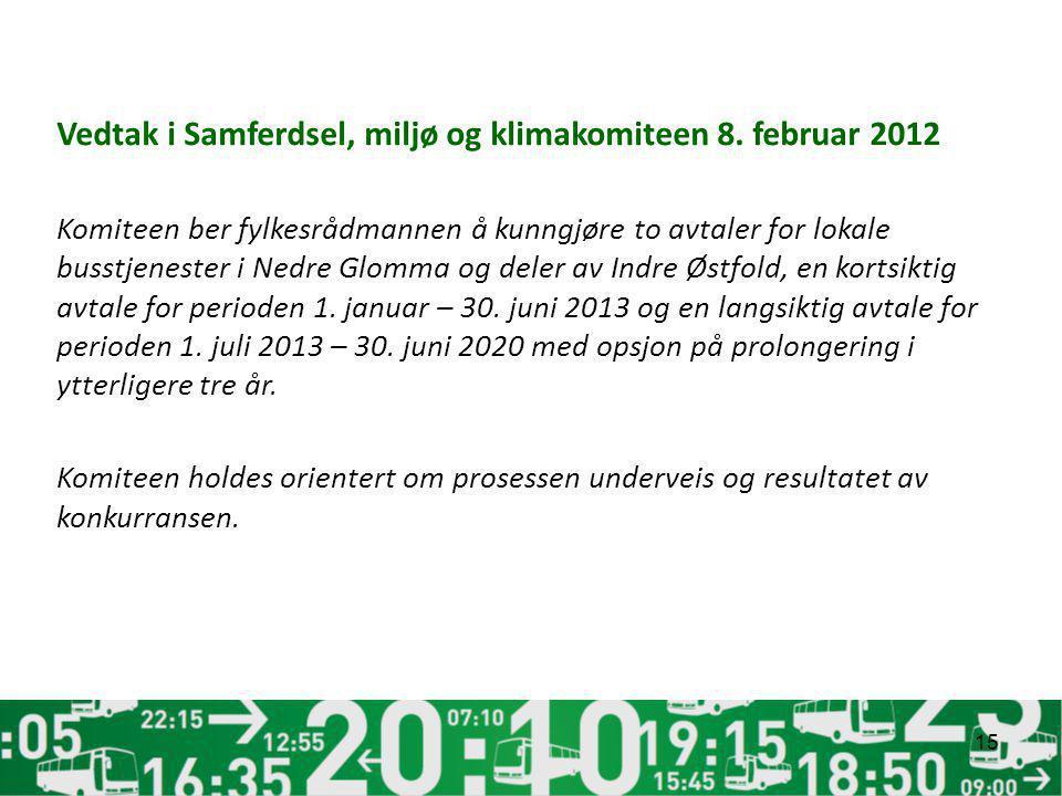 Vedtak i Samferdsel, miljø og klimakomiteen 8. februar 2012 Komiteen ber fylkesrådmannen å kunngjøre to avtaler for lokale busstjenester i Nedre Glomm