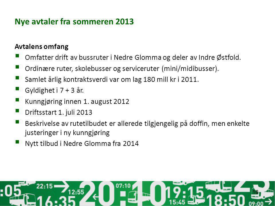 Nye avtaler fra sommeren 2013 Avtalens omfang  Omfatter drift av bussruter i Nedre Glomma og deler av Indre Østfold.  Ordinære ruter, skolebusser og