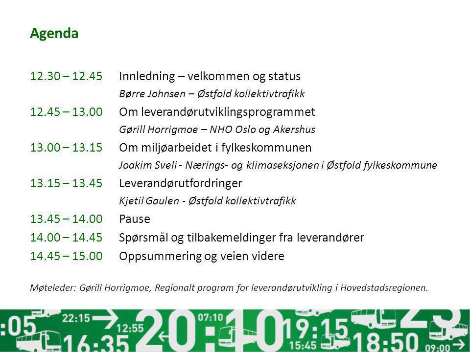 Agenda 12.30 – 12.45Innledning – velkommen og status Børre Johnsen – Østfold kollektivtrafikk 12.45 – 13.00Om leverandørutviklingsprogrammet Gørill Ho