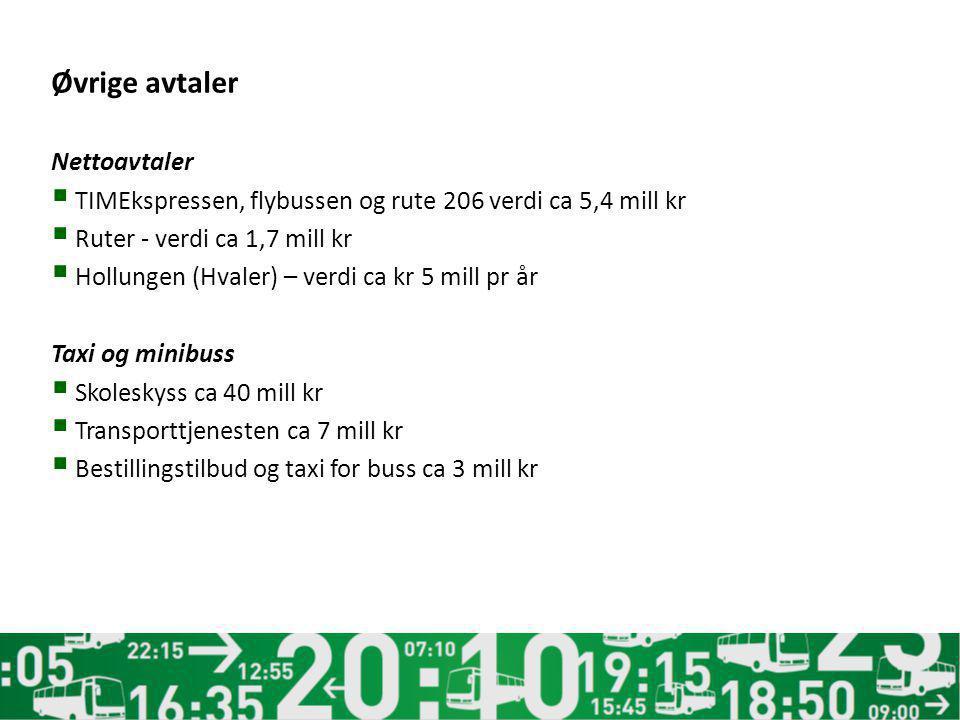 Øvrige avtaler Nettoavtaler  TIMEkspressen, flybussen og rute 206 verdi ca 5,4 mill kr  Ruter - verdi ca 1,7 mill kr  Hollungen (Hvaler) – verdi ca