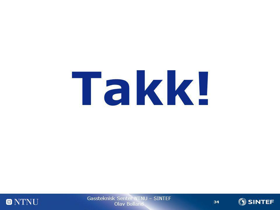 34 Gassteknisk Senter NTNU – SINTEF Olav Bolland Takk!