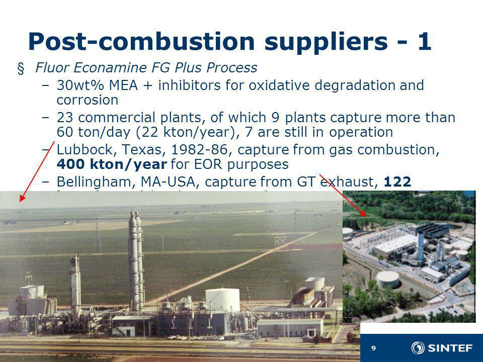 9 Gassteknisk Senter NTNU – SINTEF Olav Bolland Post-combustion suppliers - 1 § Fluor Econamine FG Plus Process –30wt% MEA + inhibitors for oxidative