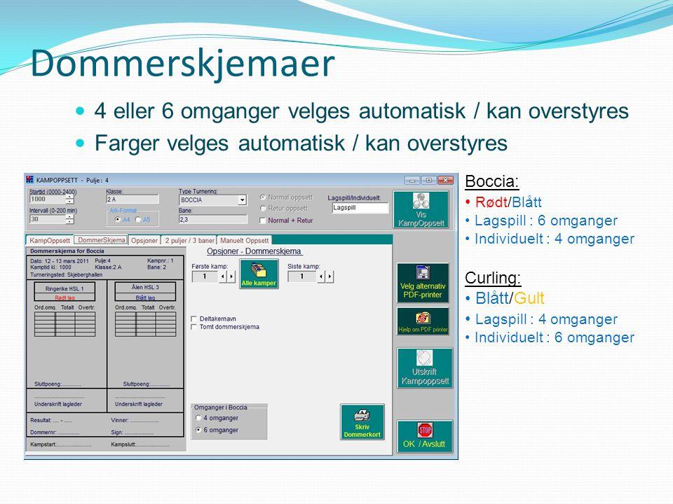 Dommerskjemaer  4 eller 6 omganger velges automatisk / kan overstyres  Farger velges automatisk / kan overstyres Boccia: • Rødt/Blått • Lagspill : 6