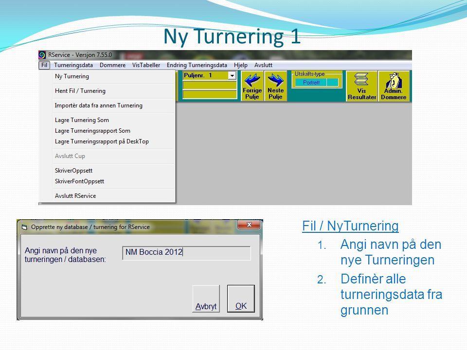 Ny Turnering 1 Fil / NyTurnering 1. Angi navn på den nye Turneringen 2. Definèr alle turneringsdata fra grunnen