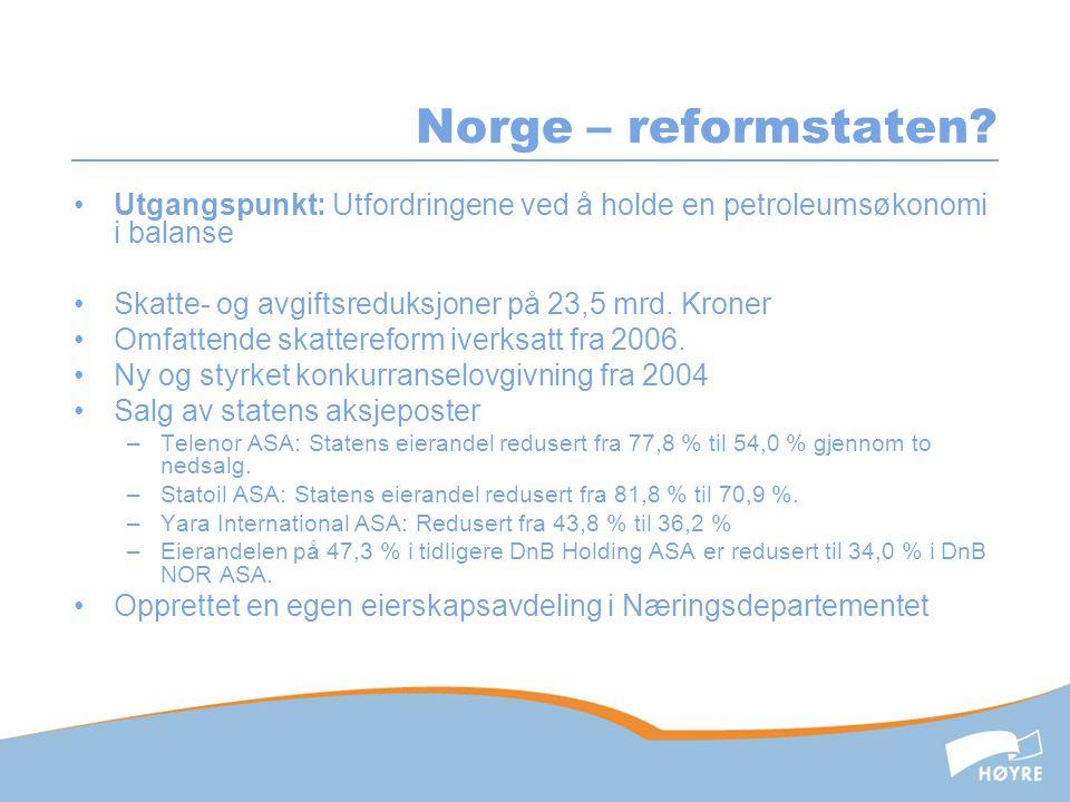 Norge – reformstaten.•Ny forbrukerkjøpslov fra juli 2002.
