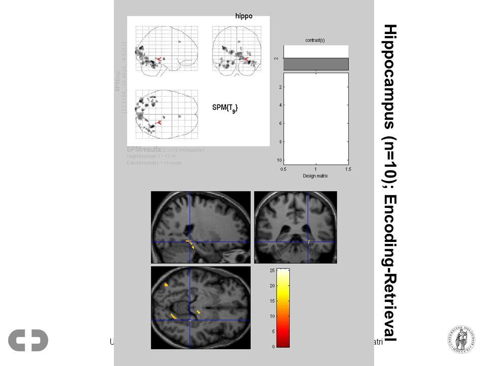 Ullevål univ. sykehus, Psykiatrisk div. / Universitetet i Oslo, Inst. for psykiatri Hippocampus (n=10); Encoding-Retrieval