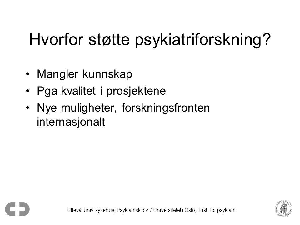 Ullevål univ. sykehus, Psykiatrisk div. / Universitetet i Oslo, Inst. for psykiatri Hvorfor støtte psykiatriforskning? •Mangler kunnskap •Pga kvalitet