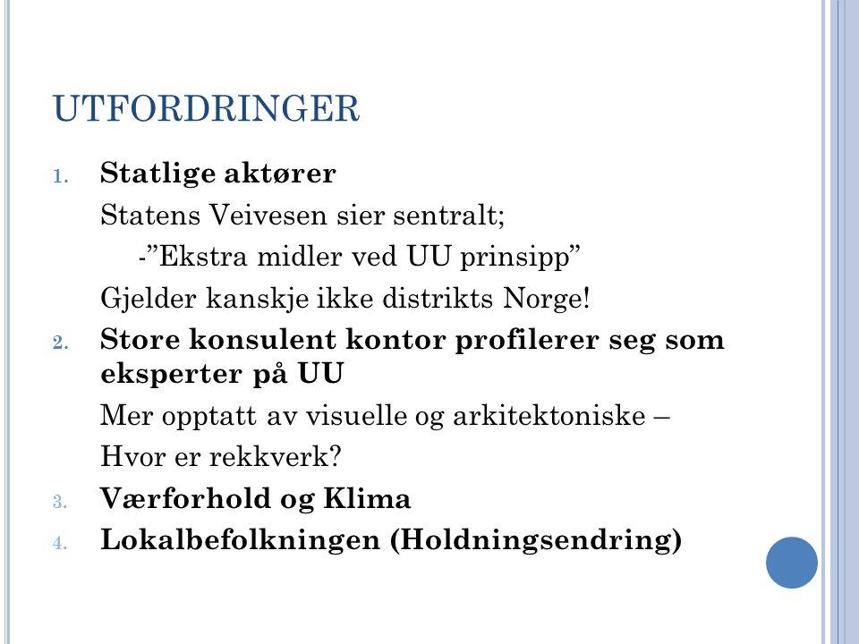 """UTFORDRINGER 1. Statlige aktører Statens Veivesen sier sentralt; -""""Ekstra midler ved UU prinsipp"""" Gjelder kanskje ikke distrikts Norge! 2. Store konsu"""