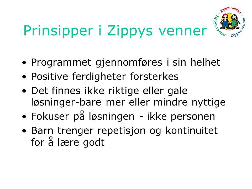 Prinsipper i Zippys venner •Programmet gjennomføres i sin helhet •Positive ferdigheter forsterkes •Det finnes ikke riktige eller gale løsninger-bare mer eller mindre nyttige •Fokuser på løsningen - ikke personen •Barn trenger repetisjon og kontinuitet for å lære godt