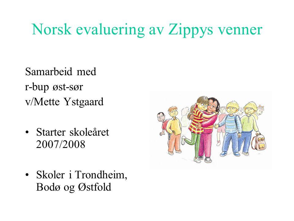 Norsk evaluering av Zippys venner Samarbeid med r-bup øst-sør v/Mette Ystgaard •Starter skoleåret 2007/2008 •Skoler i Trondheim, Bodø og Østfold