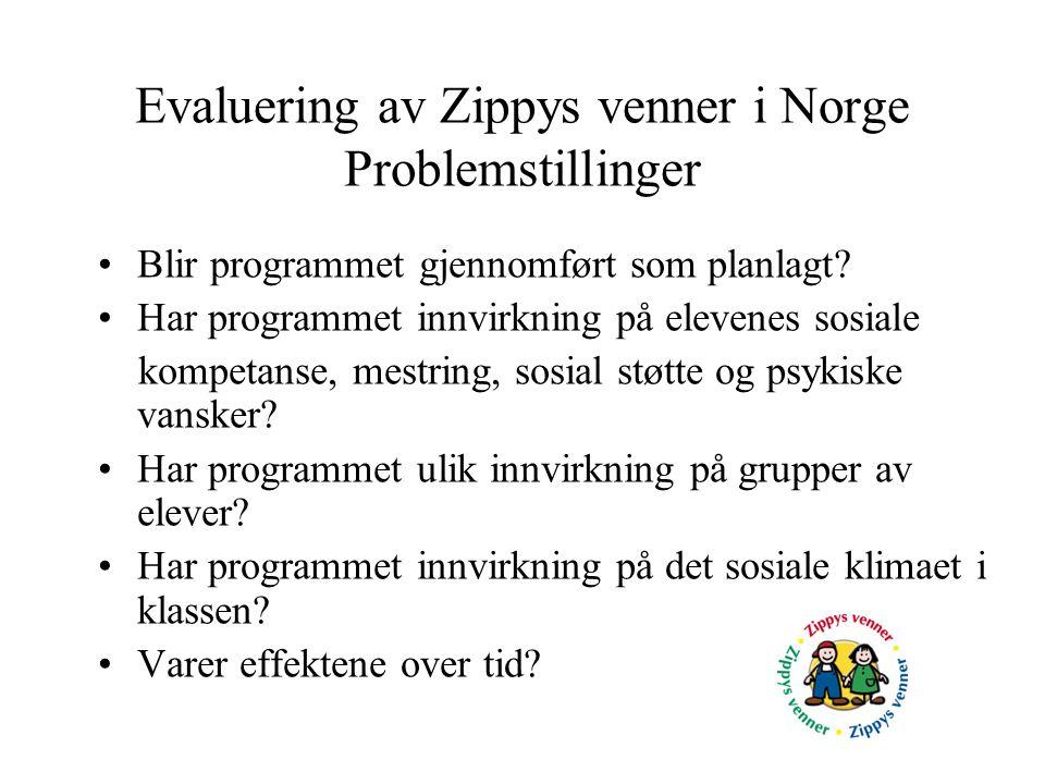 Evaluering av Zippys venner i Norge Problemstillinger •Blir programmet gjennomført som planlagt? •Har programmet innvirkning på elevenes sosiale kompe