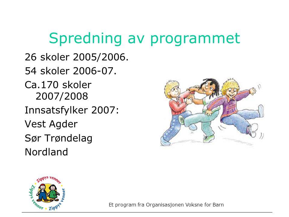 Spredning av programmet 26 skoler 2005/2006. 54 skoler 2006-07. Ca.170 skoler 2007/2008 Innsatsfylker 2007: Vest Agder Sør Trøndelag Nordland Et progr