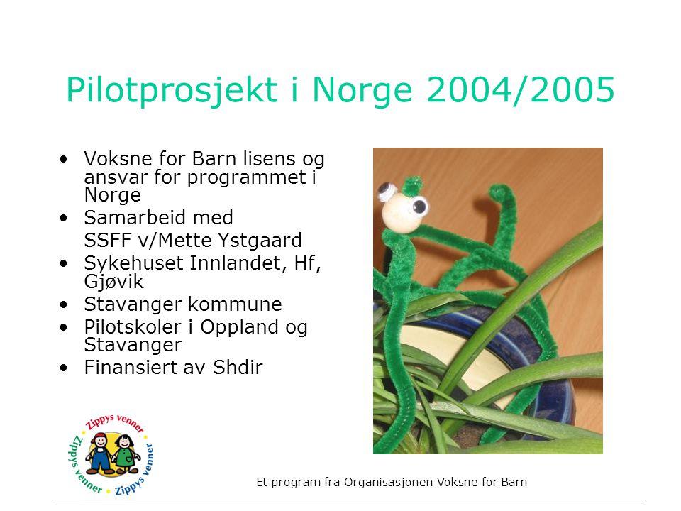 Pilotprosjekt i Norge 2004/2005 •Voksne for Barn lisens og ansvar for programmet i Norge •Samarbeid med SSFF v/Mette Ystgaard •Sykehuset Innlandet, Hf