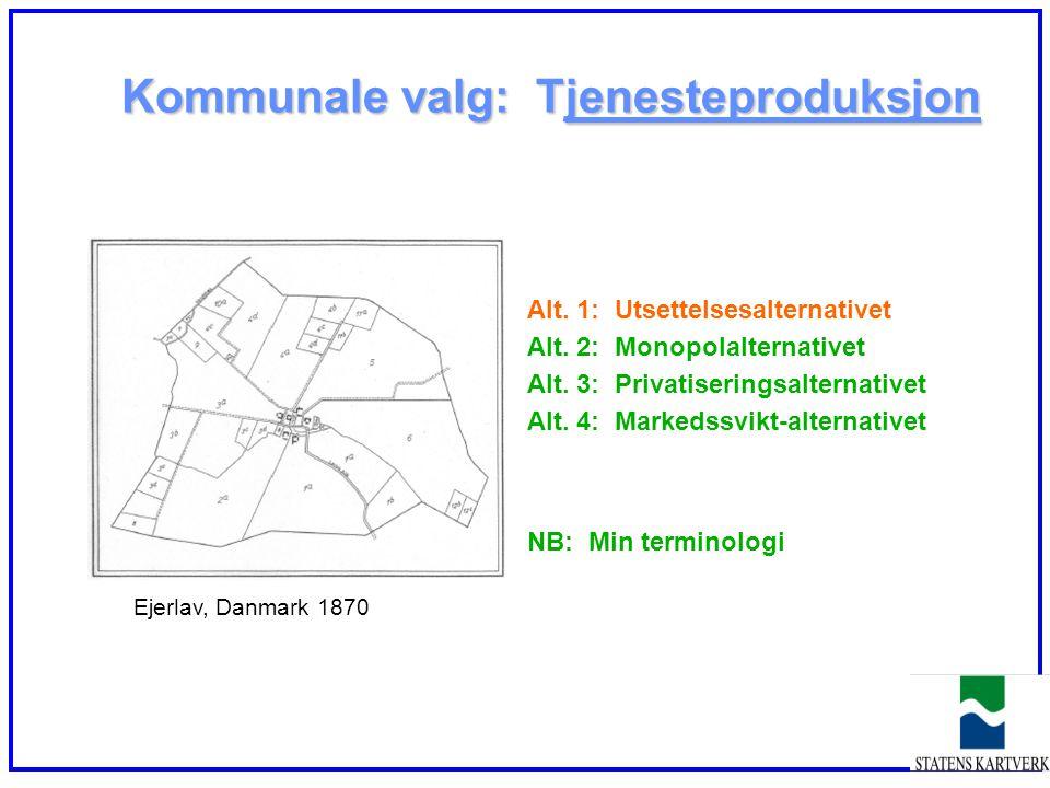 Kommunale valg: Tjenesteproduksjon Alt. 1: Utsettelsesalternativet Alt. 2: Monopolalternativet Alt. 3: Privatiseringsalternativet Alt. 4: Markedssvikt