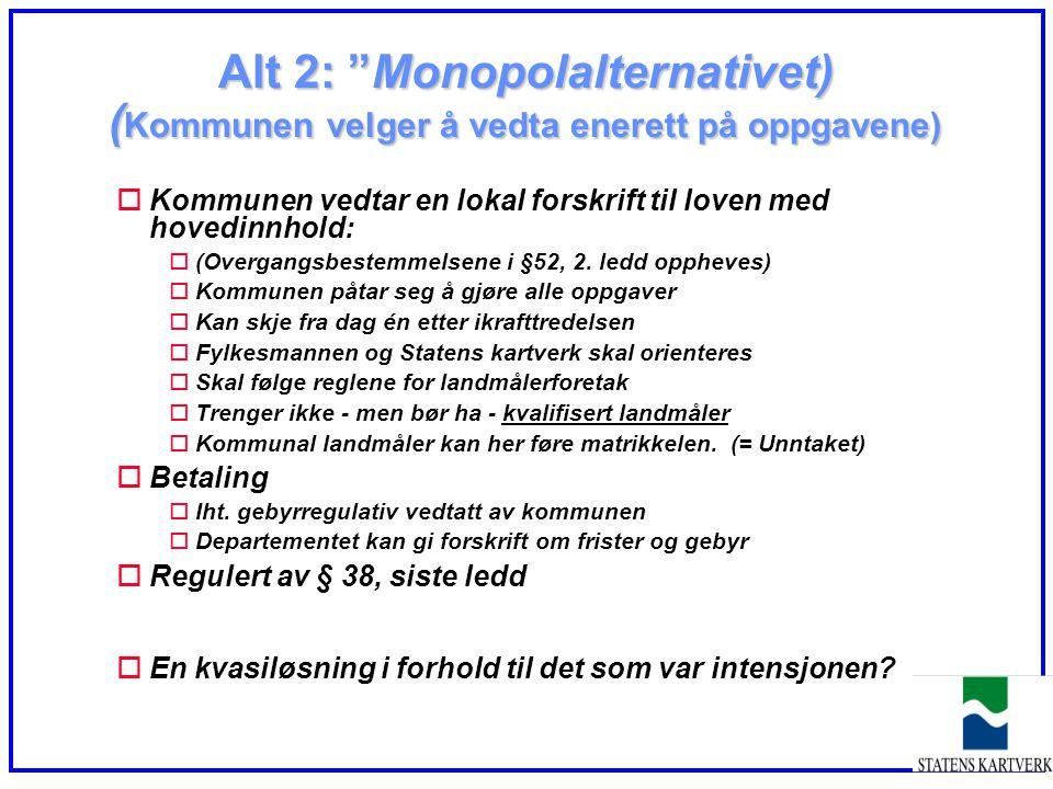 """Alt 2: """"Monopolalternativet) ( Kommunen velger å vedta enerett på oppgavene) oKommunen vedtar en lokal forskrift til loven med hovedinnhold: o(Overgan"""