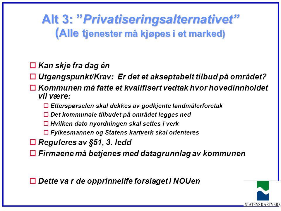 """Alt 3: """"Privatiseringsalternativet"""" ( Alle t jenester må kjøpes i et marked) oKan skje fra dag én oUtgangspunkt/Krav: Er det et akseptabelt tilbud på"""