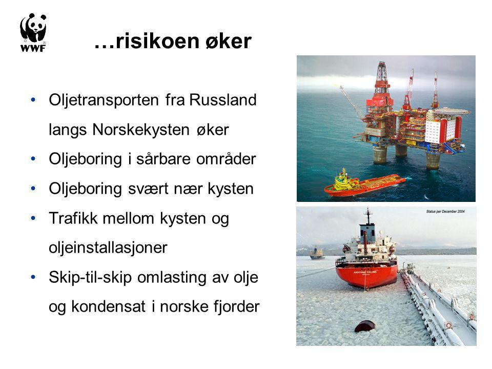 •Oljetransporten fra Russland langs Norskekysten øker •Oljeboring i sårbare områder •Oljeboring svært nær kysten •Trafikk mellom kysten og oljeinstall