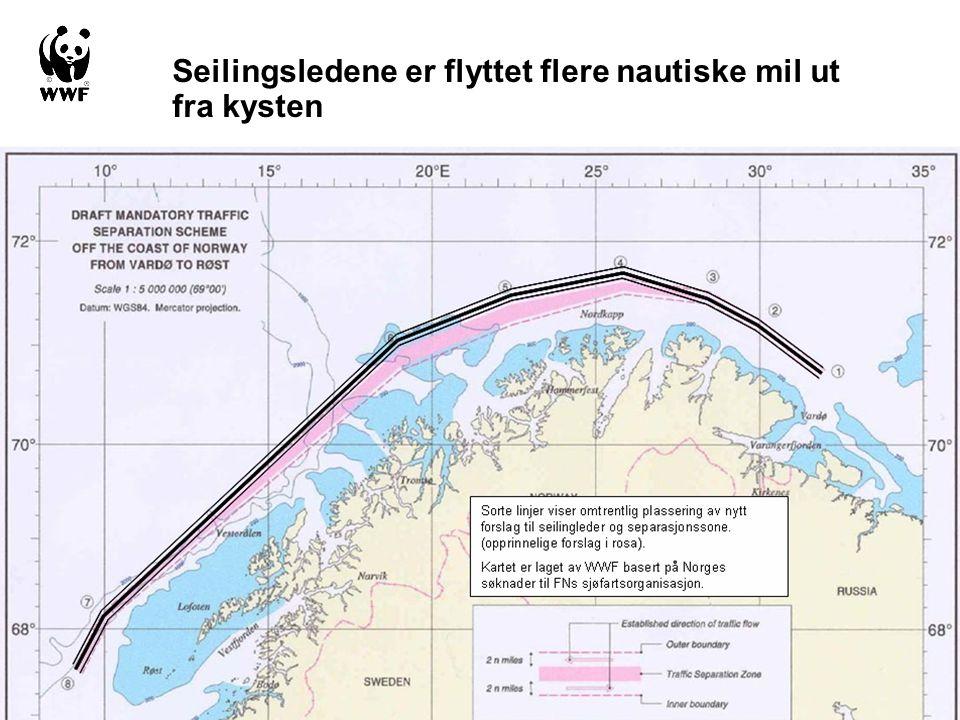 Seilingsledene er flyttet flere nautiske mil ut fra kysten