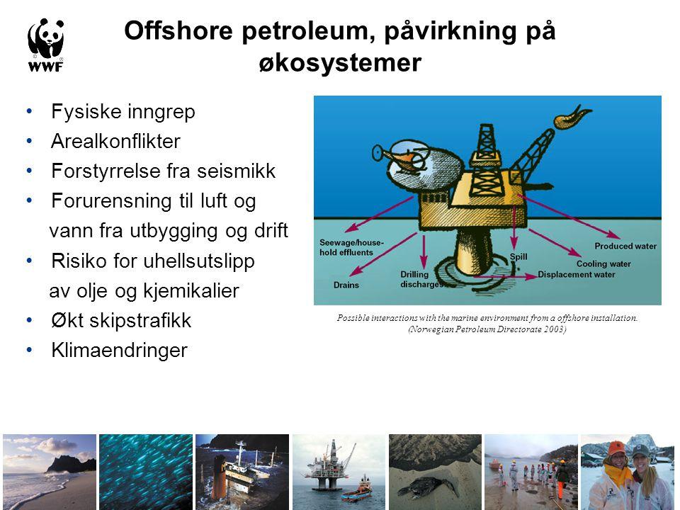 Offshore petroleum, påvirkning på økosystemer •Fysiske inngrep •Arealkonflikter •Forstyrrelse fra seismikk •Forurensning til luft og vann fra utbyggin