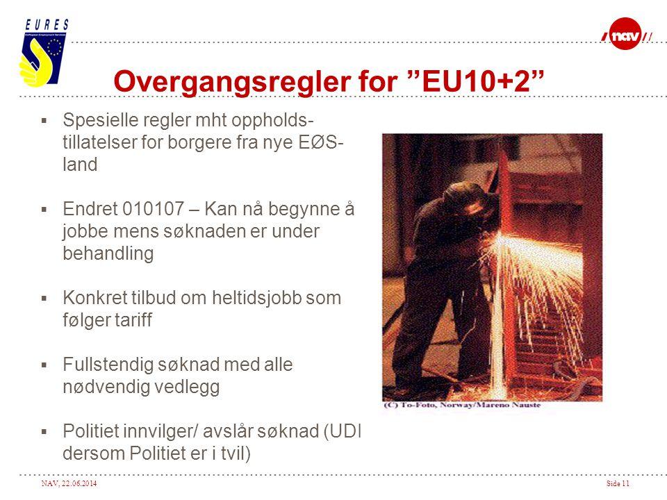 """NAV, 22.06.2014Side 11 Overgangsregler for """"EU10+2""""  Spesielle regler mht oppholds- tillatelser for borgere fra nye EØS- land  Endret 010107 – Kan n"""