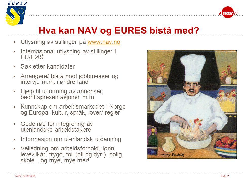 NAV, 22.06.2014Side 15 Hva kan NAV og EURES bistå med?  Utlysning av stillinger på www.nav.nowww.nav.no  Internasjonal utlysning av stillinger i EU/