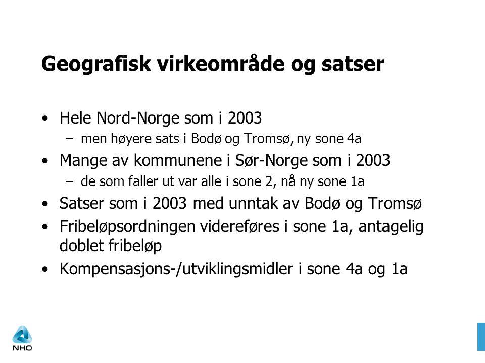 Geografisk virkeområde og satser •Hele Nord-Norge som i 2003 –men høyere sats i Bodø og Tromsø, ny sone 4a •Mange av kommunene i Sør-Norge som i 2003 –de som faller ut var alle i sone 2, nå ny sone 1a •Satser som i 2003 med unntak av Bodø og Tromsø •Fribeløpsordningen videreføres i sone 1a, antagelig doblet fribeløp •Kompensasjons-/utviklingsmidler i sone 4a og 1a