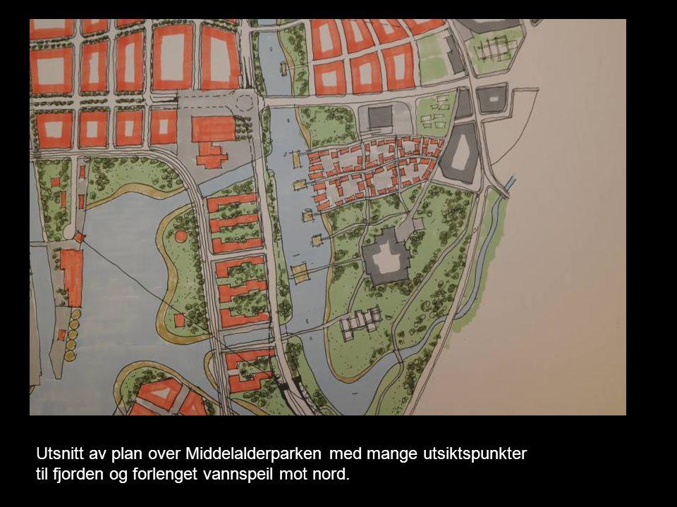 Utsnitt av plan over Middelalderparken med mange utsiktspunkter til fjorden og forlenget vannspeil mot nord.
