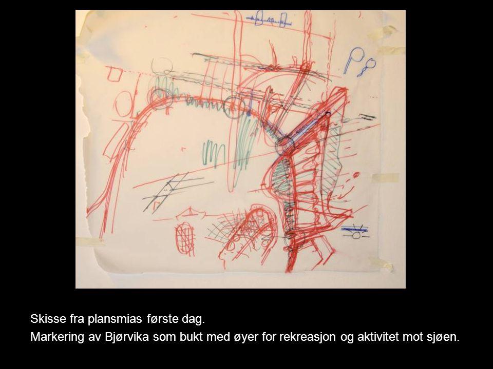 Plan over nytt stasjonsområde med Akerselva åpnet og overlyste stasjonsbygninger for tog og buss på hver side av nytt Jernbanetorg Øst.