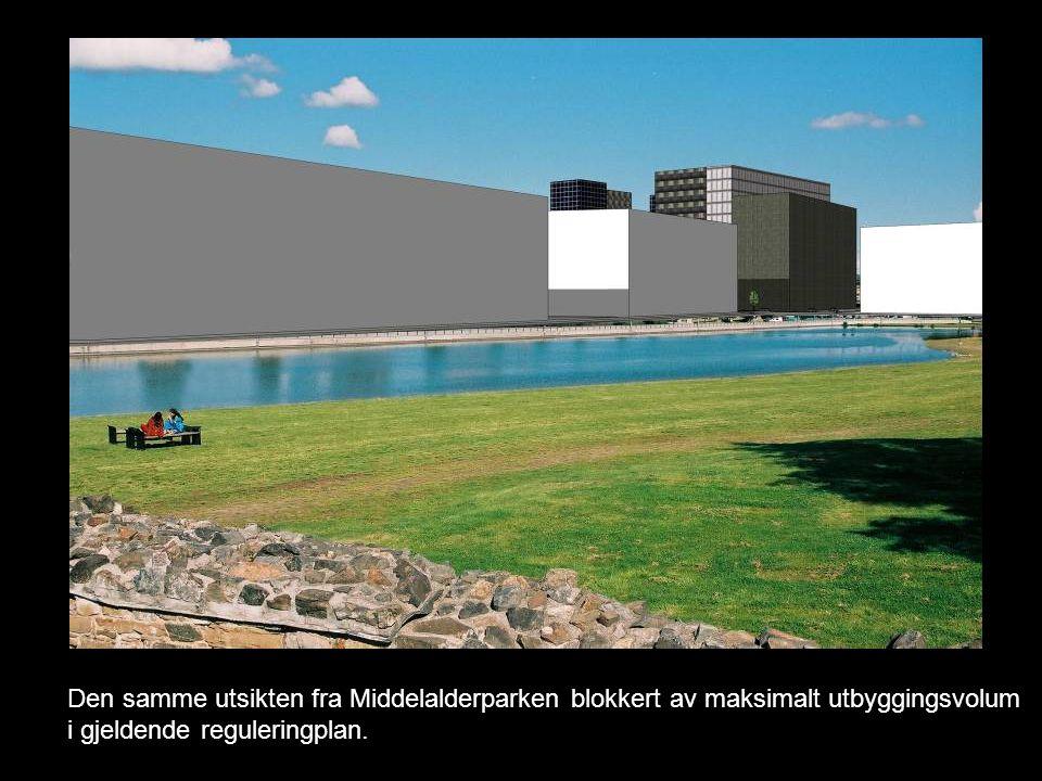 Den samme utsikten fra Middelalderparken blokkert av maksimalt utbyggingsvolum i gjeldende reguleringplan.